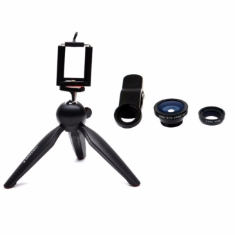 Yunteng YT-228 Mini Tripod for Mobile Phones and Sports CamerasGoPro Hero, SJCAM, Yi, SooCoo, etc. (Black) with Universal ClipLens (Black)