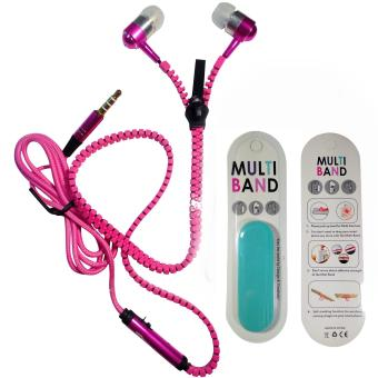 Zipper Earphone /Headset with Mic for Oppo (Pink) with FreeMultiband Phone Holder (Neon Blue)