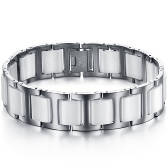 ZUNCLE Simple Stylish Men titanium steel Ceramic Bracelet(White) - picture 2