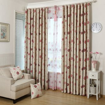 1 PC Leaf Pattern Window Room Shade Panel Blackout Voile Curtain Red 100x250cm