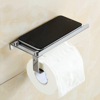 1 Pc Stainless Steel 304 Roll Paper Mobile Phone Holder with Shelf Towel Rack Toilet Tissue Boxes Kitchen Bathroom Accessories - intl