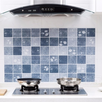 1 Pc Wall Stickers Oil Resistant Self-Adhesive Kitchen Tile Wall Stove Oil Fume Waterproof Wallpaper - intl