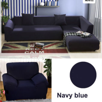 1 Seater L Shape Loveseat Chair Stretch Sofa Couch Protect Cover Slipcover Navy Blue-Only Sofa Cover