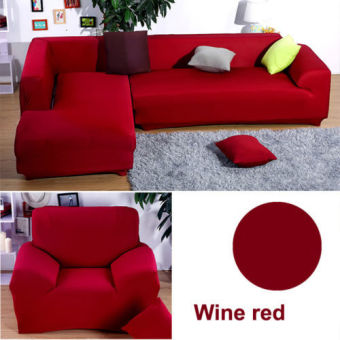 1 Seater L Shape Loveseat Chair Stretch Sofa Couch Protect Cover Slipcover Wine red-Only Sofa Cover