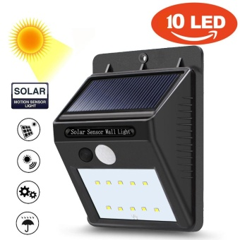 10 LED Solar Power PIR Motion Sensor Wall Light Outdoor Garden Waterproof Lamp - intl