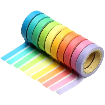10 Pcs DIY Mixed Color Writable Tearable Decorative Sticky Paper Masking Adhesive Tape Set Note Scrapbook Random Color