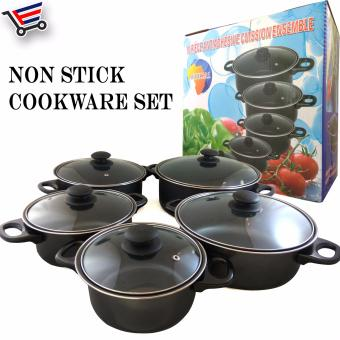 10 Pcs Home and Restaurant Non Stick Cookware Set with Glass Lid (Black)