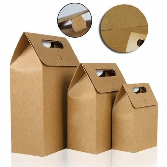 10 Pcs Kraft Paper Foldable Snacks Bags Candy Box Wedding GiftsPackage size:S - intl - 4