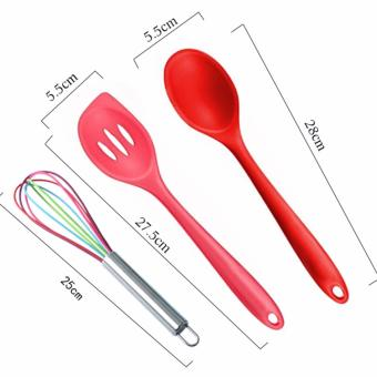 10 Piece Silicone cooking utensils,Heat Resistant Multicolor Kitchen Cooking Set Including Brush, Tongs, Spoon, Spatula, Slotted turner, ladle, Whisk - intl - 3