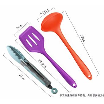 10 Piece Silicone cooking utensils,Heat Resistant Multicolor Kitchen Cooking Set Including Brush, Tongs, Spoon, Spatula, Slotted turner, ladle, Whisk - intl - 4