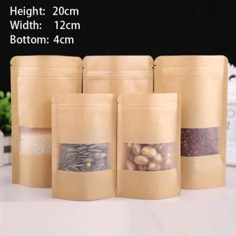 100 pcs 12x20+4cm Stand Up Bulk Food Storage Ziplock Bag FoodMoisture-proof Bags,Window Bags Brown Kraft Paper Doypack PouchZiplock Packaging for snack,Cookies, Mylar Heat Sealable SmellProof Pouches Tear Notch Coffee Zipper Valve Grocery Wrap - intl