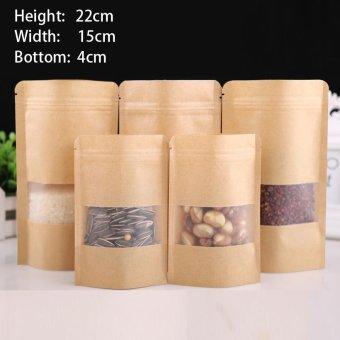100 pcs 15x22+4cm Stand Up Bulk Food Storage Ziplock Bag Food Moisture-proof Bags,Window Bags Brown Kraft Paper Doypack Pouch Ziplock Packaging for snack,Cookies, Mylar Heat Sealable Smell Proof Pouches Tear Notch Coffee Zipper Valve Grocery Wrap - intl