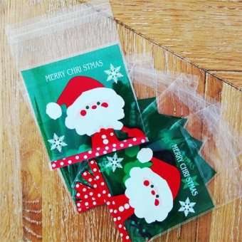 100 PCS Christmas Cello Cellophane Cookie Biscuit Candy Sweet BagParty Favour Gift - intl