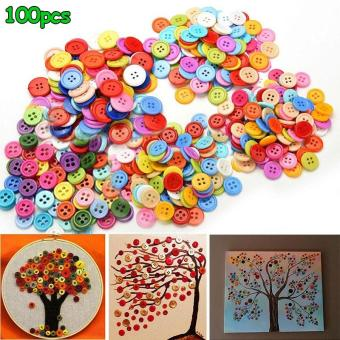 100 Pcs Resin Round Buttons Crafts Accessories Random Color size:9mm - intl
