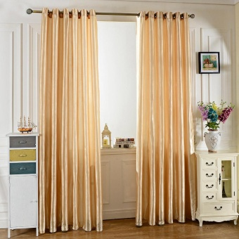 100 x 250CM Pure Color Grommet Ring Top Blackout Window Curtain forBedroom Living Room - intl