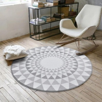 100*100cm Nordic Style Round Floor Mat Carpet Computer Chair Mat 3DCactus Flamingo Print Anti-slip Tea Table Mats Sofa Rugs LargeCarpets Kids Room Decorative Soft Bedside Footcloth - intl