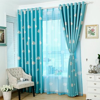 100*250cm Cloud Pattern Window Curtain Screen Sheer Valance Voile Blue
