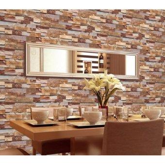 10*0.53m Wallpaper 3D PVC Brick Pattern Wall Art Home Decor TV WallEco-friendly Wall Paper Mural for Cafe Restaurant Living Room -intl - 2
