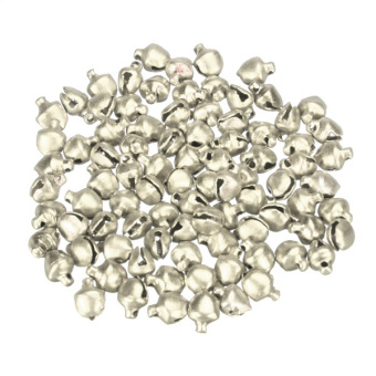 100Pcs Colorful Iron Loose Beads Christmas Jingle Bells Pendants Charms 8x6mm Silver NEW - intl