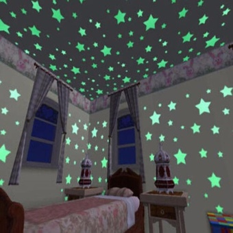 100PCS Colorful Luminous Home Glow In The Dark Stars Wall Stickers- intl - 3