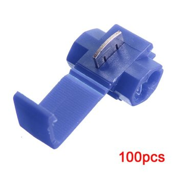 100pcs Quick Splice Connectors Lock Wire Terminals Crimp Electrical Electric - Blue - Intl