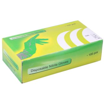 100Pcs/Box Nitrile Disposable Powder Latex Textured Gloves Black L- intl