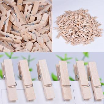 100x 25MM Mini Natural Wooden Clothe Po Paper Peg Clothespin Craft Clips Arts - intl - 3