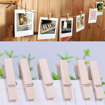 100x 25MM Mini Natural Wooden Clothe Po Paper Peg Clothespin Craft Clips Arts - intl - 5