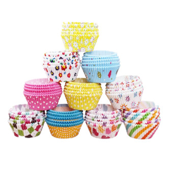 100x Xmas Colorful Paper Cake Cup Liners Baking Cupcake Cases Muffin Cake