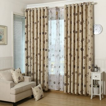 100x250cm Leaf Pattern Window Room Shade Panel Blackout Voile Curtain Coffee