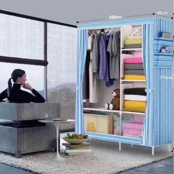 105 3D Single Fashion Stripe Wardrobe Closet (Blue)