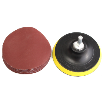 10Pcs 4 Sanding Disc Sandpaper Hook Loop 1000 + Backer Pad with Drill Adapter - intl