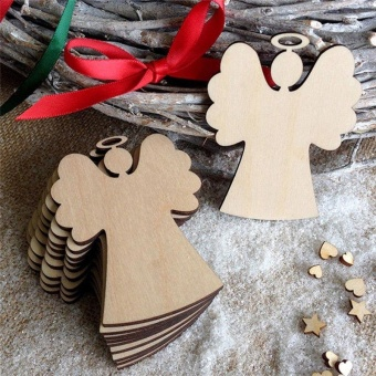 10Pcs Christmas Wood Chip Tree Ornaments Xmas Hanging Pendant (size:Angel ) - intl