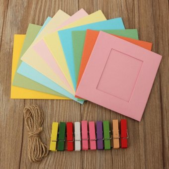 10Pcs DIY Paper Photo Picture Frames Clips Hanging Rope Album Card Wall Decor - intl - 4