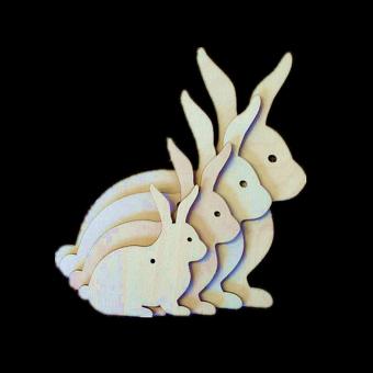 10pcs Wooden MDF Rabbit Shape Tags Decoration 6cm