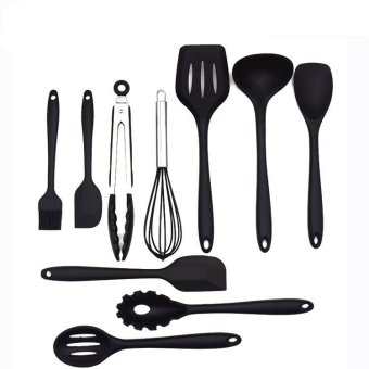 10Pcs/Cooking Tool Sets Silicone Heat Resistant Kitchen CookingUtensils Spatula Non-Stick Baking Tool Tongs Ladle Gadget(Black) -Intl
