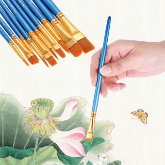 10pcs/pack Artist Paint Brush Kit Set Nylon Hair Round Point Tipfor Acrylic Aquarelle Watercolor Oil Painting - intl