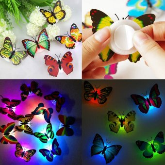 10Pcs/set Butterfly 3D Wall Sticker Colorful LED Night Lights LampKids Bedroom Decor - intl