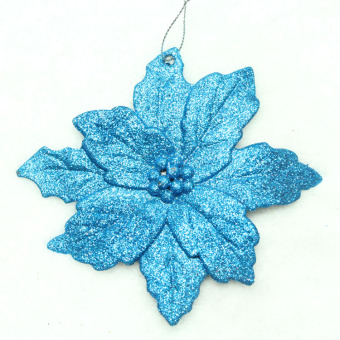 11cm glitter powder sticky powder Christmas flower-shaped Christmas tree decoration products