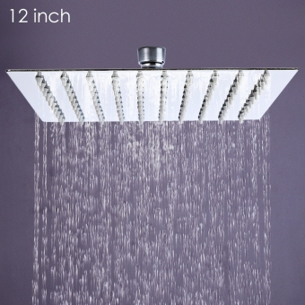 12 inch High Pressure Ultra Thin 201 Stainless Steel Square Rain Shower Head - Intl