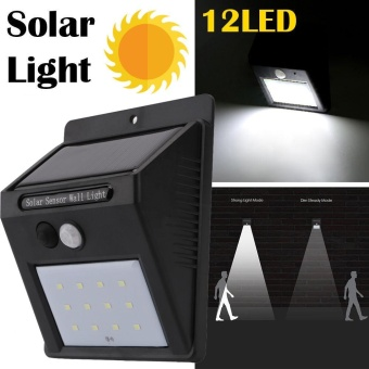 12 LED Solar Power PIR Motion Sensor Wall Light Outdoor Waterproof Garden Lamp - intl