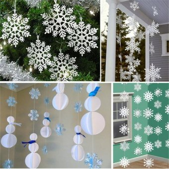 12 pcs Christmas Tree White Snowflake Charms Holiday Party Festival Ornaments Decor Bulk Snow Christmas Home Decorations - intl