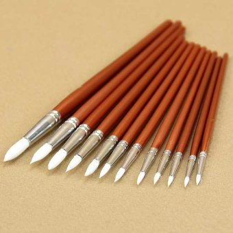 12 Pcs Fine Wooden Acrylic Watercolor Oil Painting Artists Brushes- intl