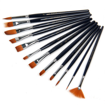 12 x Nylon Hair Paint Brush Set Artist Watercolor Acrylic Oil Painting Supplies (Black)