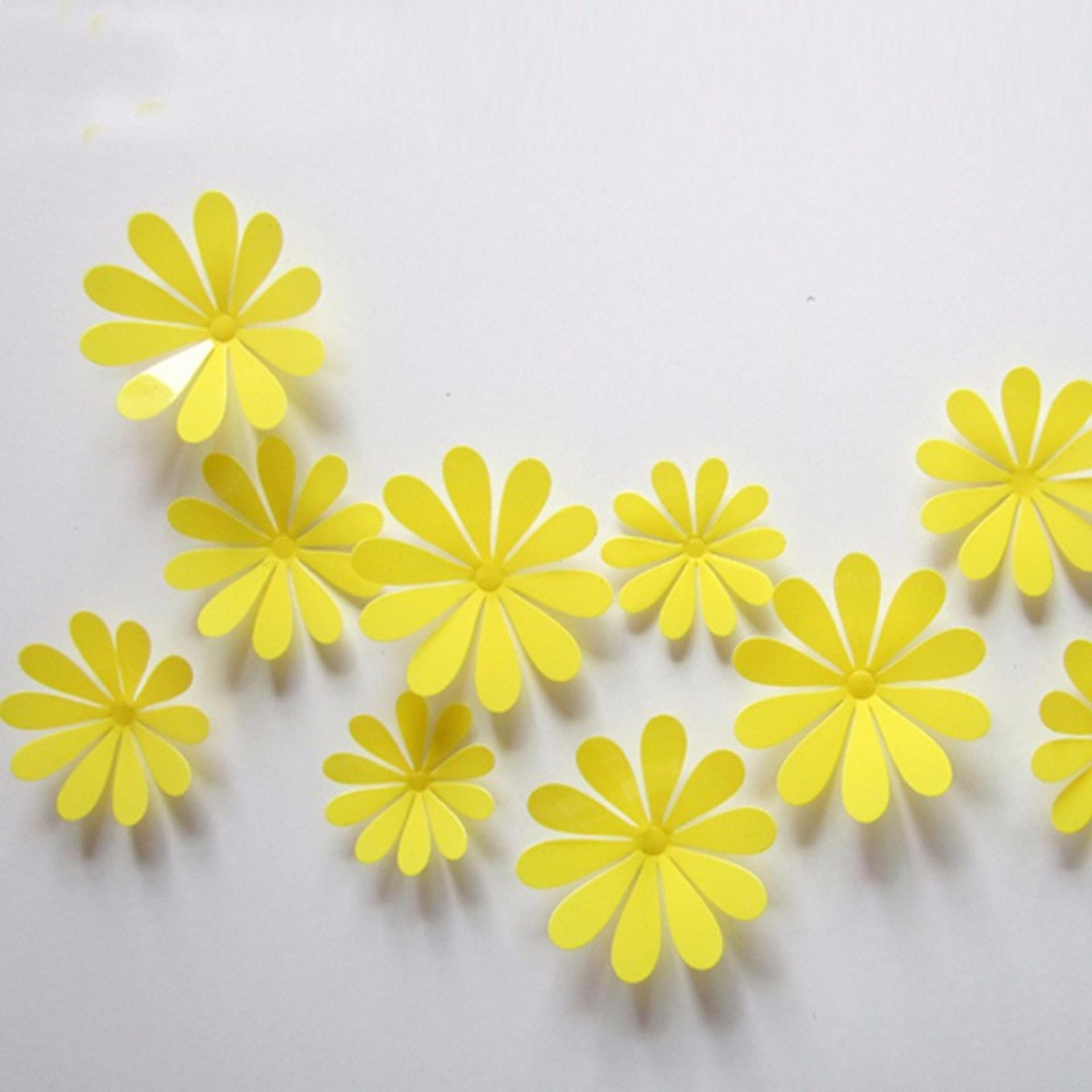 Philippines | 12Pcs 3D Flowers PVC DIY Vinyl Mural Wall Stickers ...
