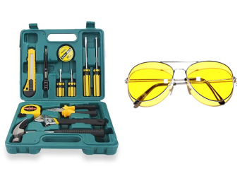 12pcs Professional Hardware Tools Set Accessory Repair HomeTool-Box Kits Case With Night View Glasses (Yellow)