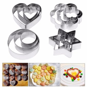12pcs Stainless Steel Star Circle Shape Cake Decor Mold FondantCookie Biscuit Pastry Cutters