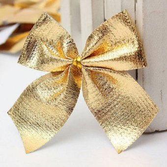 12x Bow Christmas Tree Decoration Hanging Ornament Bowknot HomeDecor Xmas Party Gold - intl