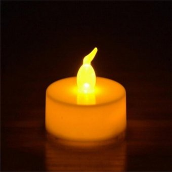 12x Candles Tealight Led Tea Light Flameless Flickering Wedding Battery Includ Yellow - intl