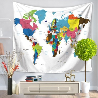 130*150cm Polyester Home Wall Hanging Decor Art Foreign World Map Exotic Printing Tapestry Beach Throw Towel Blanket Picnic Carpet Bedspread Tablecloth - intl